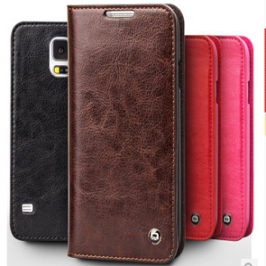 Elegant Folio Real Leather Wallet Flip Case for Galaxy S5
