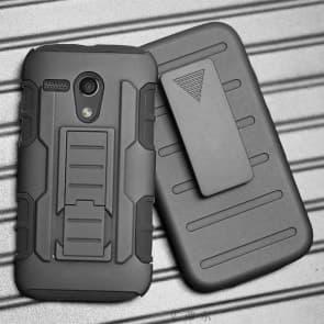 Moto G (2013) 1st Gen Tough Shockproof Defender Case with Belt Clip