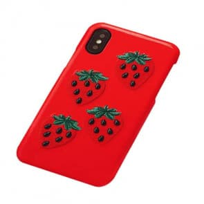 Strawberry Faux Leather iPhone X Case