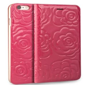 iPhone 6 6s Plus Real Premium Leather Floral Rose Patten Case