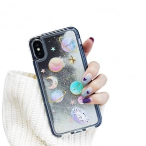 Glitter Planets Galaxy iPhone X Case